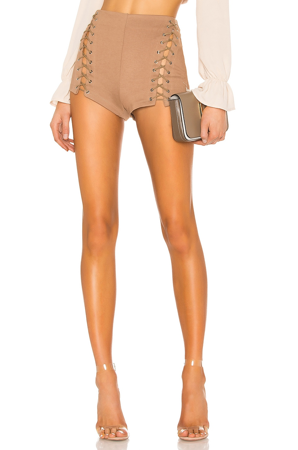 superdown Ava Lace Up Shorts in Tan