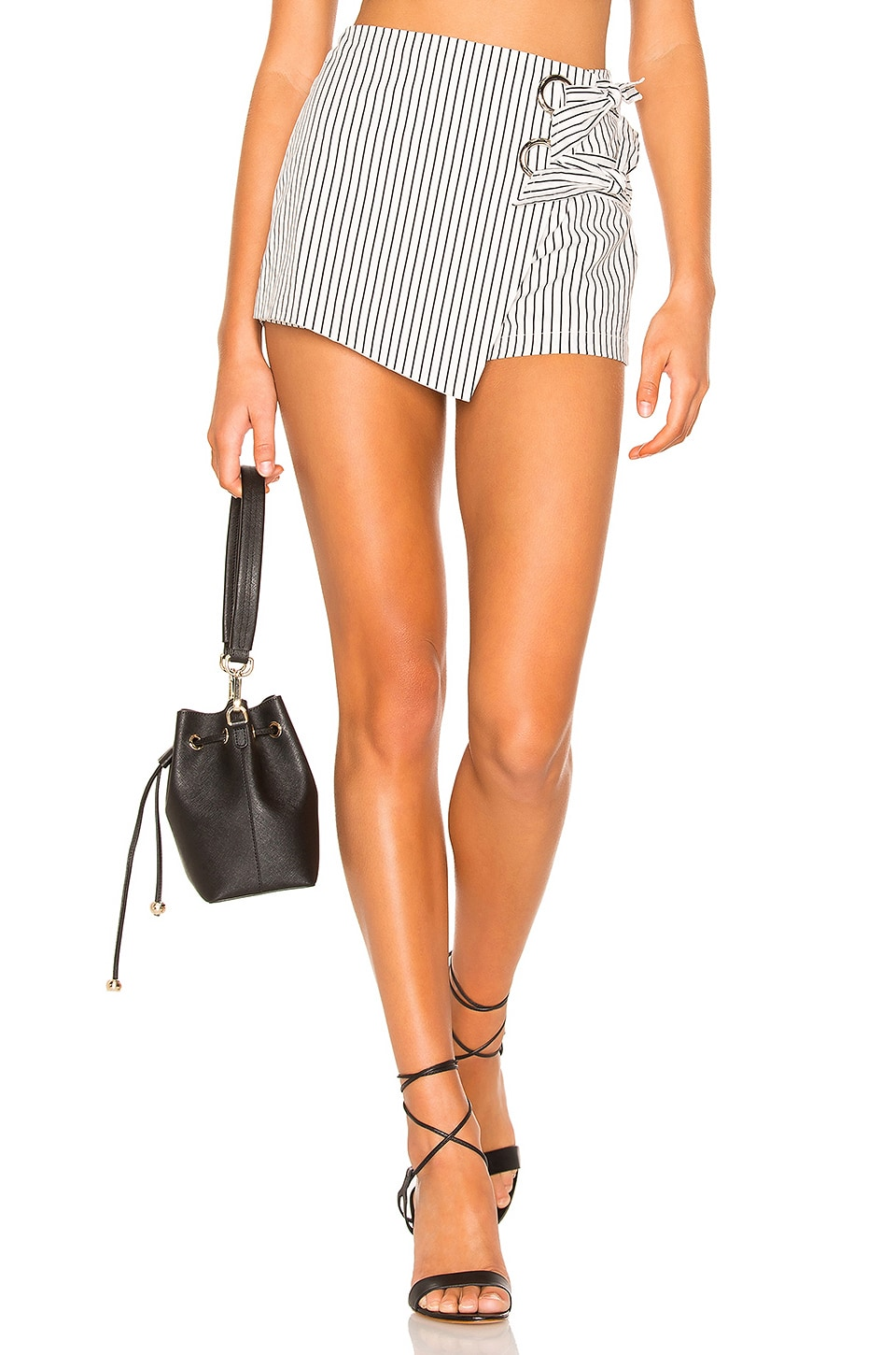 superdown Alaya Grommet Wrap Skort in White Stripe