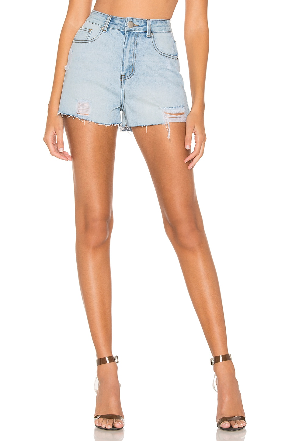 superdown Jessie High Rise Shorts in Light Wash Blue