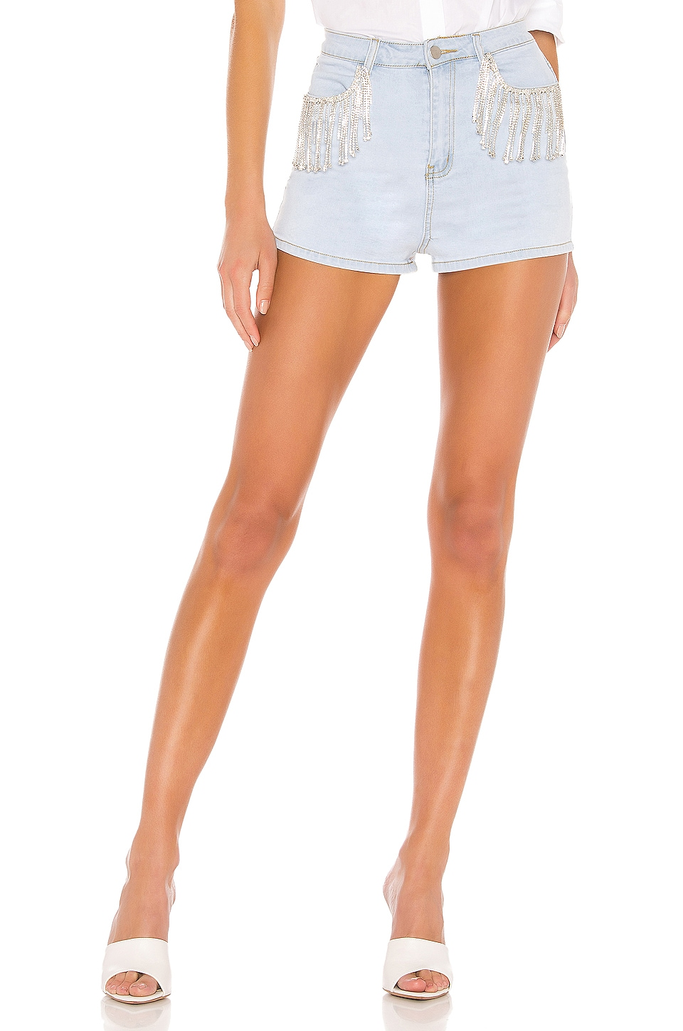 superdown Daisy Rhinestone Shorts in Blue