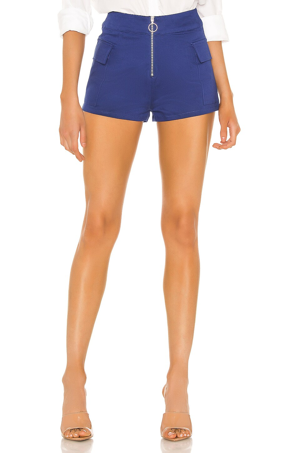 superdown Fatima Zip Hot Short in Blue