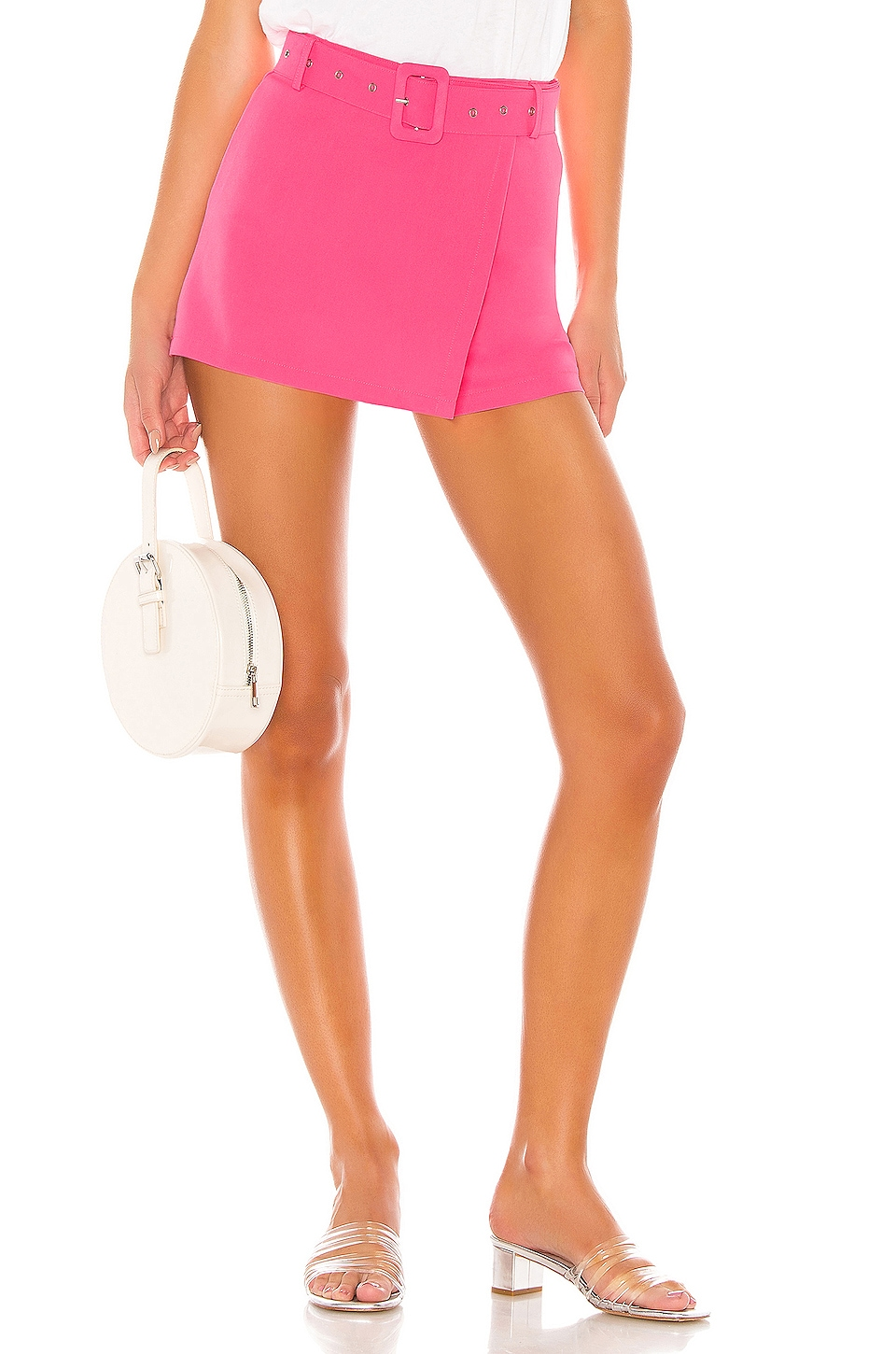 superdown Gina Belted Skort in Hot Pink