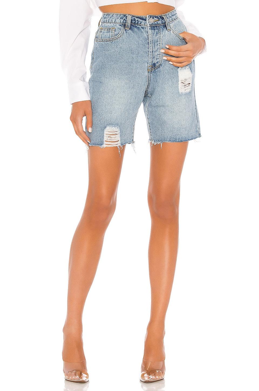 superdown Jodie Relaxed Distressed Shorts in Medium Wash