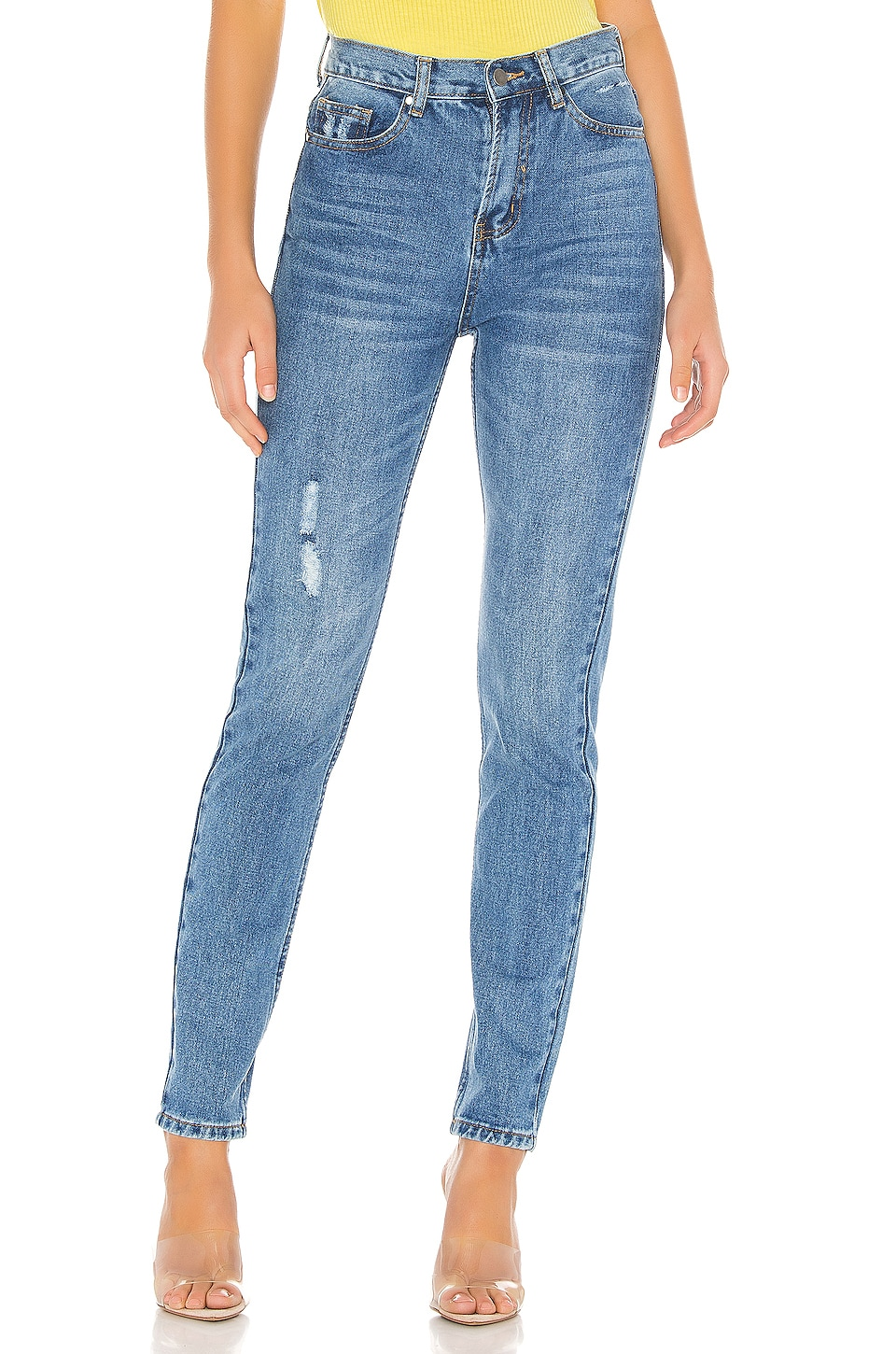 superdown Ashley High Rise Jeans in Mid Blue Wash