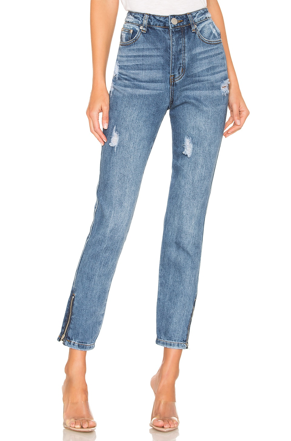 superdown Gigi Distressed Denim Jean in Light Blue Wash