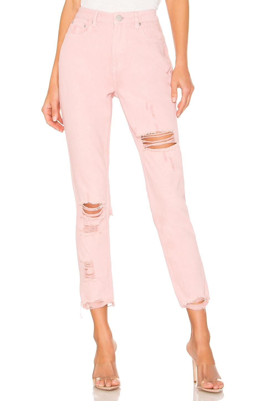 superdown Fara Distressed Denim Pant in Light Pink Wash