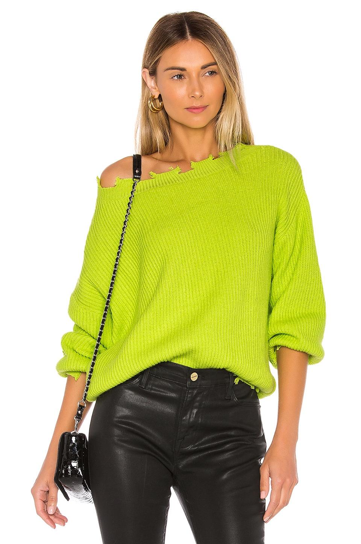 superdown Clara Off Shoulder Sweater in Neon Green