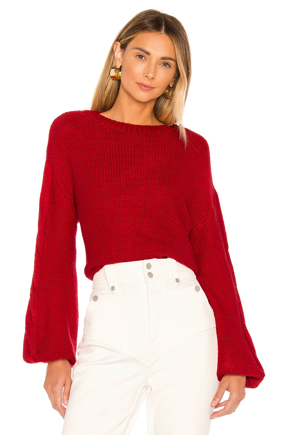 superdown Parker Oversized Sweater in Red