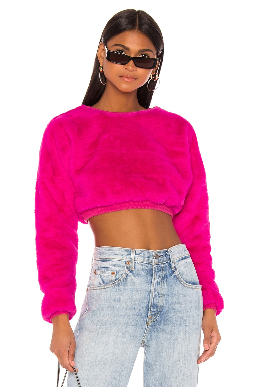superdown Michelle Faux Fur Top in Pink
