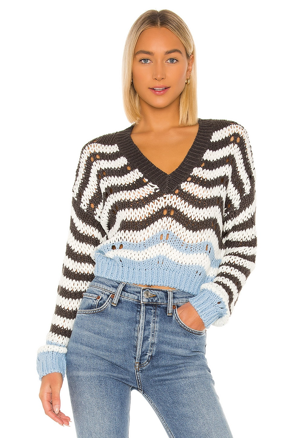 superdown Shira Cropped Sweater in Blue & Grey