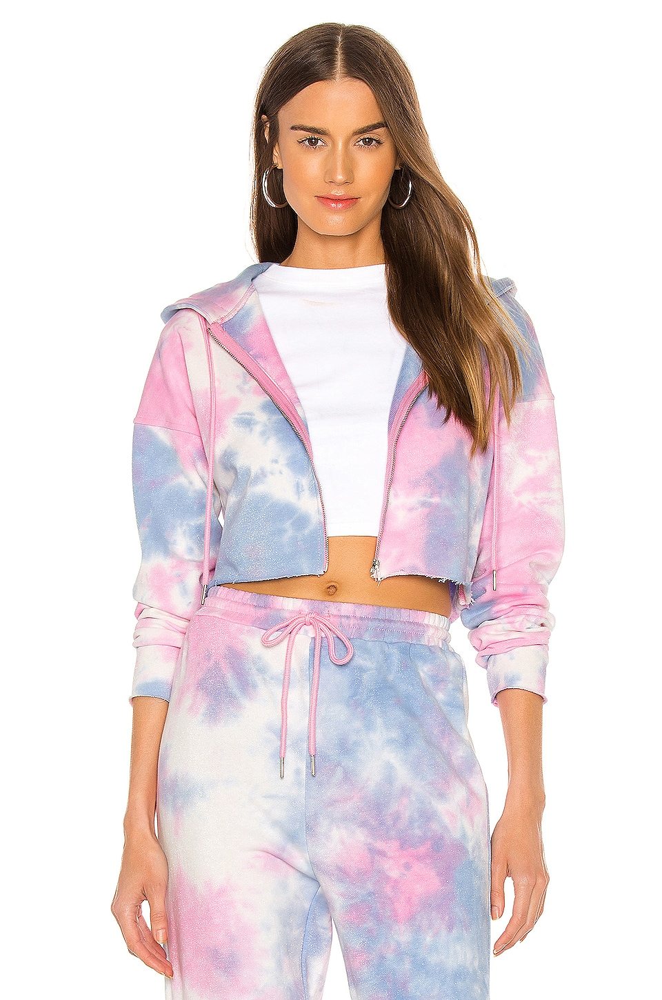 superdown Paris Zip Up Hoodie in Pink & Blue
