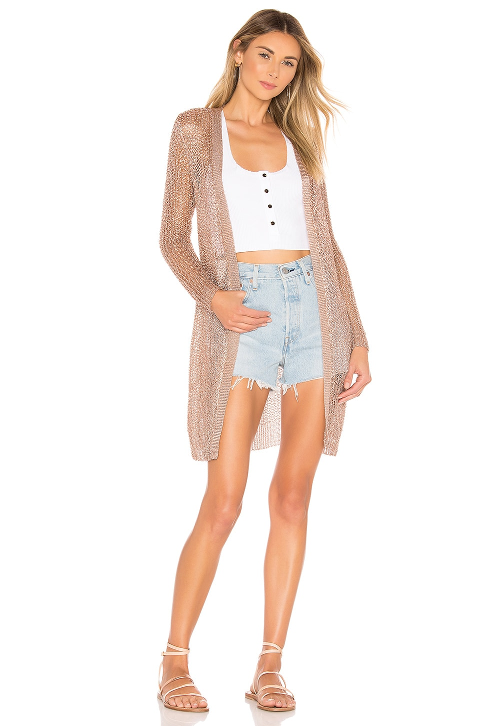 superdown x REVOLVE Karen Metallic Cardigan in Bronze