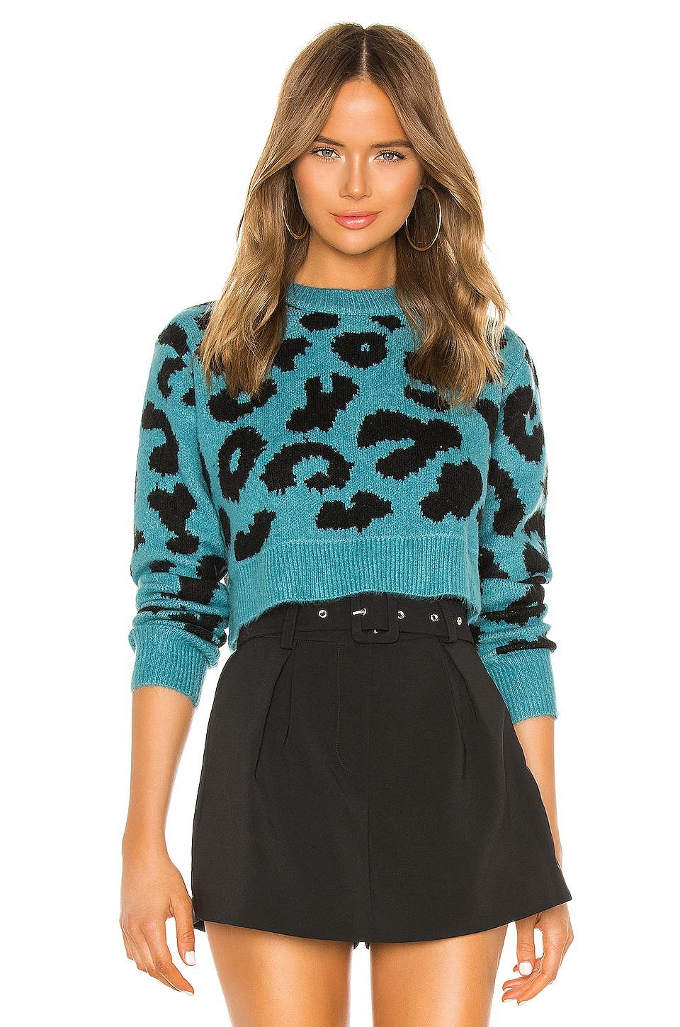 superdown Veronica Cropped Leopard Sweater in Teal
