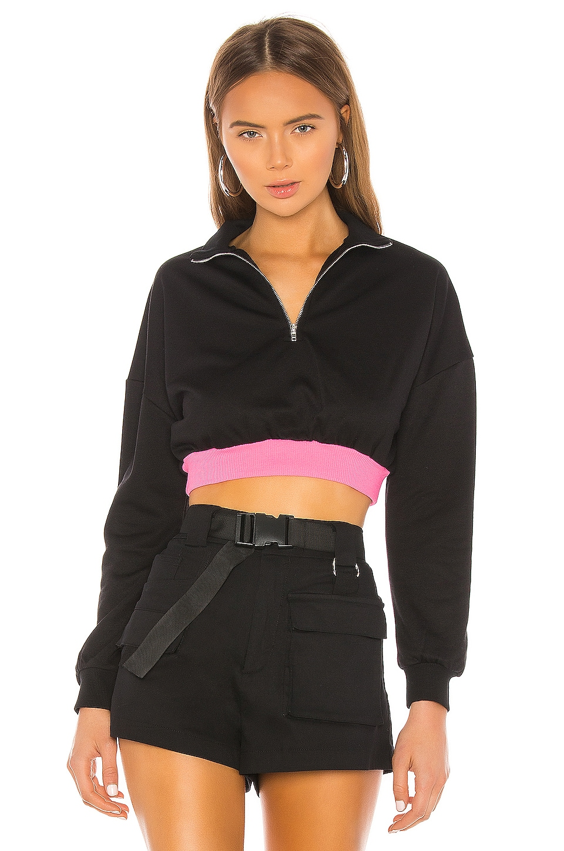 superdown Jojo Contrast Cropped Sweatshirt en Black