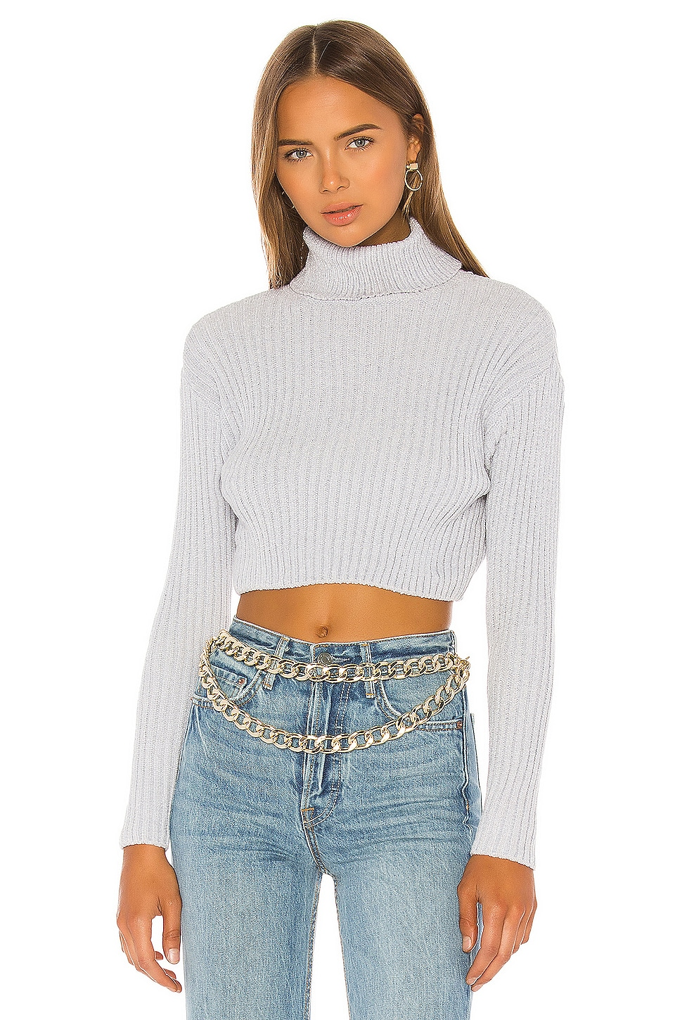superdown Tammy Ribbed Turtleneck Sweater in Grey