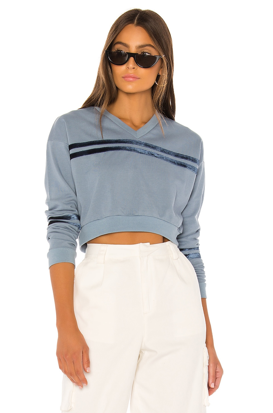 superdown Courtney Contrast Pull Over in Dusty Blue