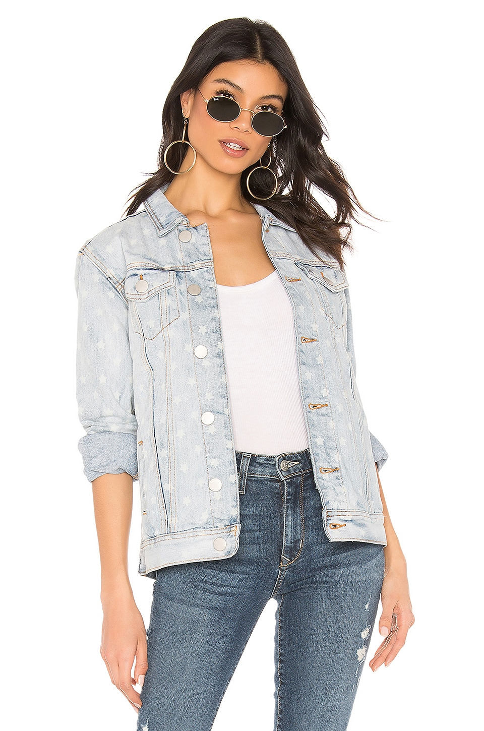superdown Kirsten Star Denim Jacket in Light Blue Wash