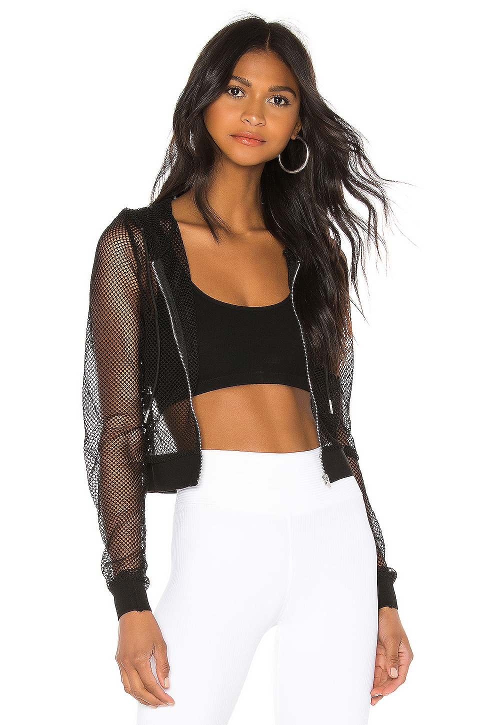 superdown Darcy Mesh Hoodie in Black
