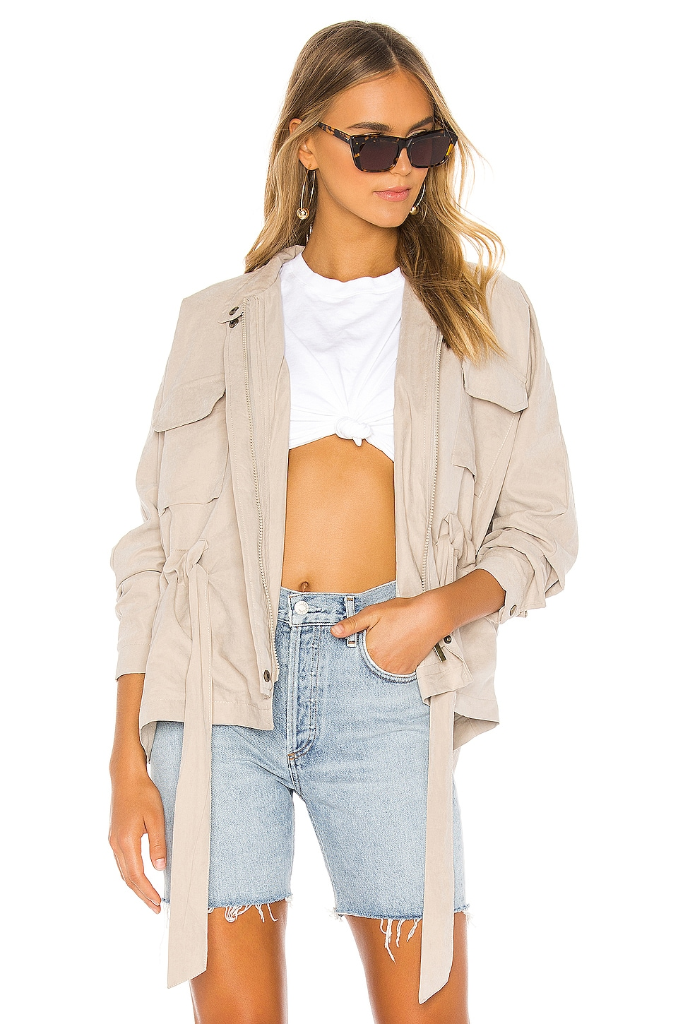 superdown Page Zip Up Jacket in Tan