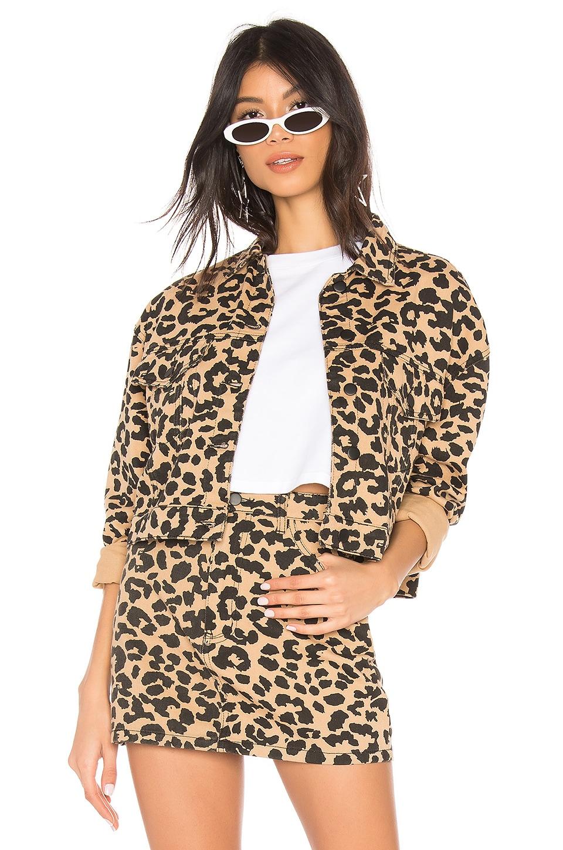 superdown Violet Denim Jacket in Leopard