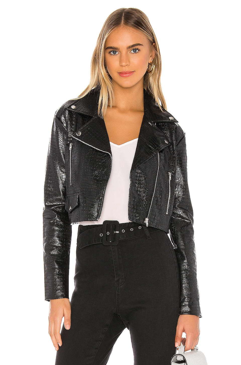 superdown Colette Cropped Moto Jacket in Black