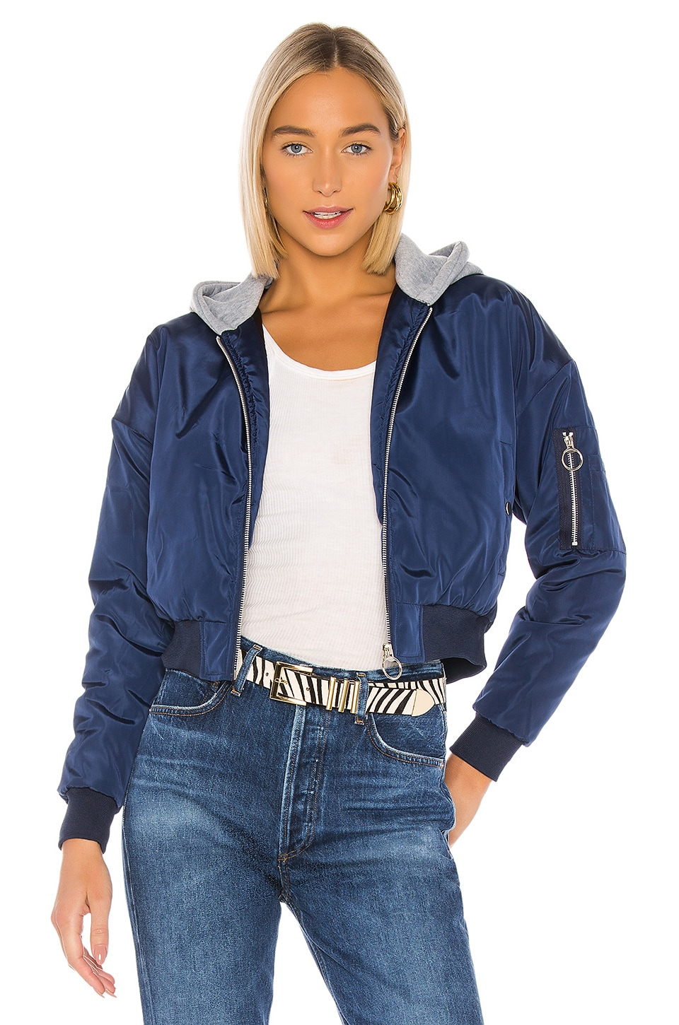 superdown Raquel Cropped Hooded Jacket in Navy