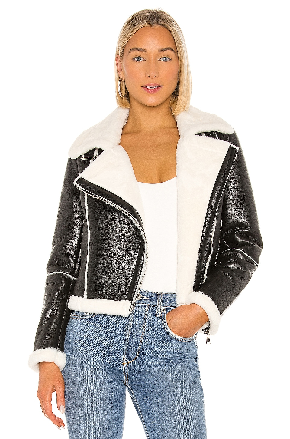 superdown Genna Zip Up Jacket in Black & White