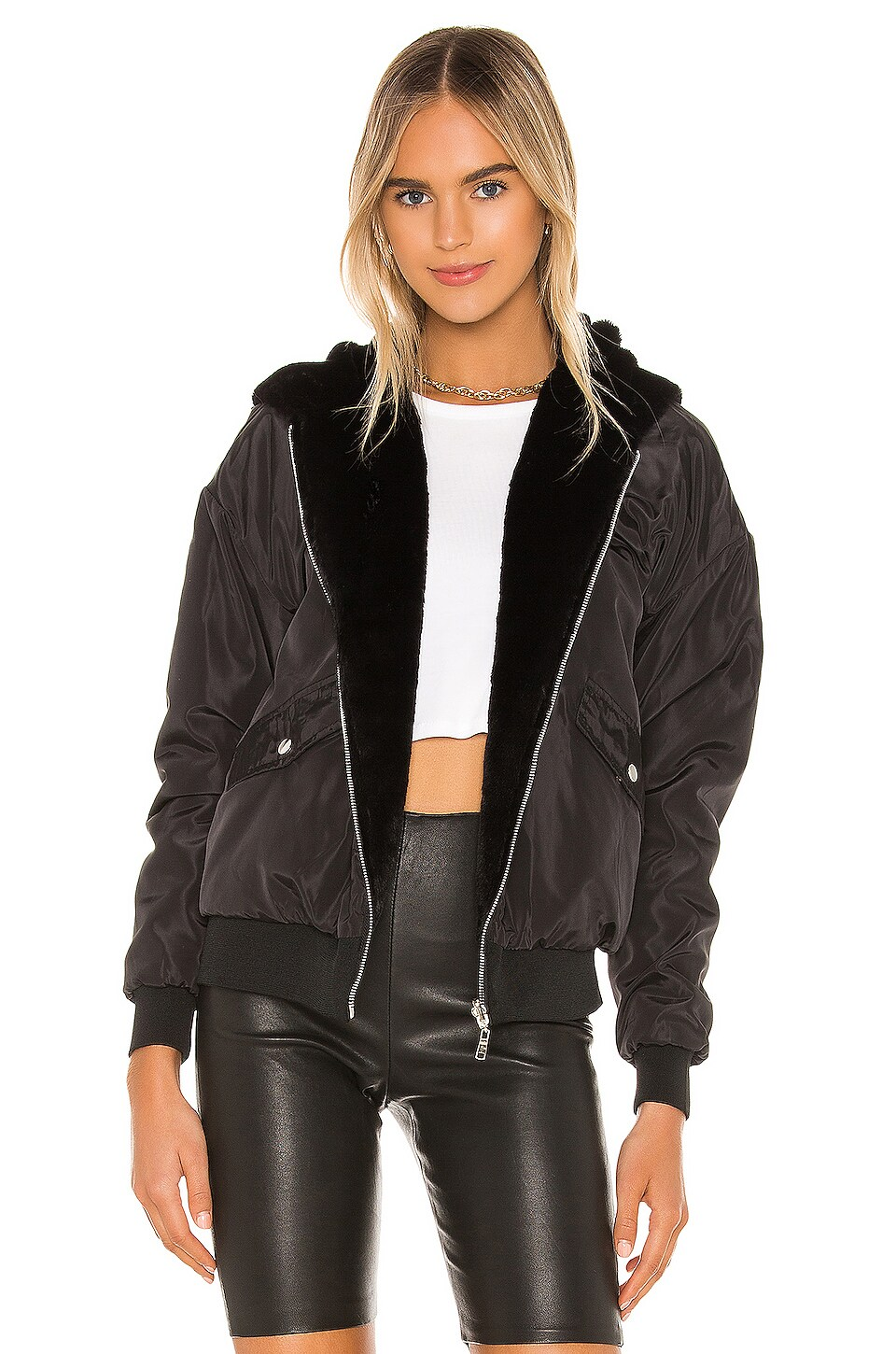 superdown Raelyn Reversible Bomber Jacket in Black