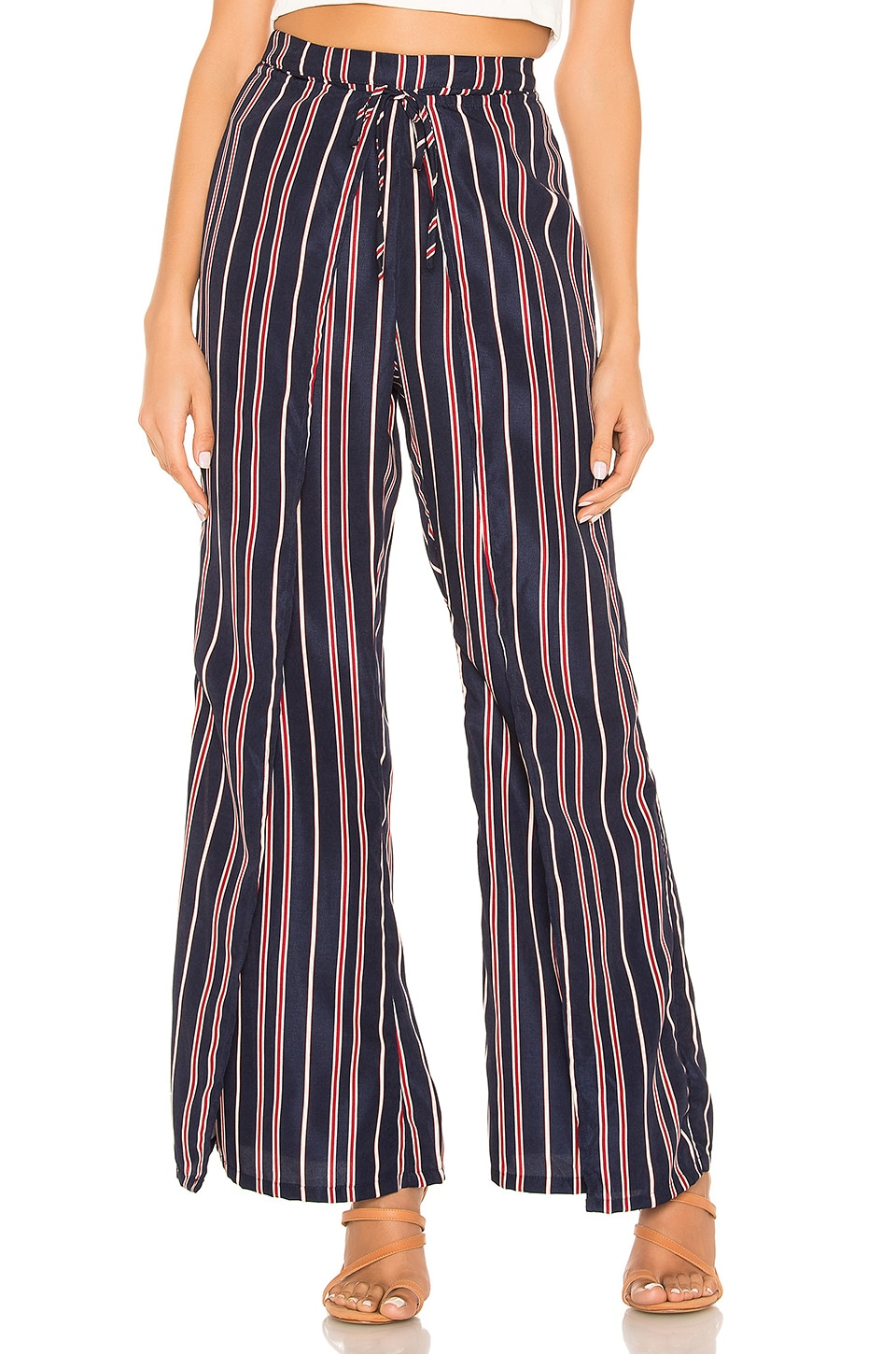 superdown Morgan Tie Front Pantss in Navy Stripe