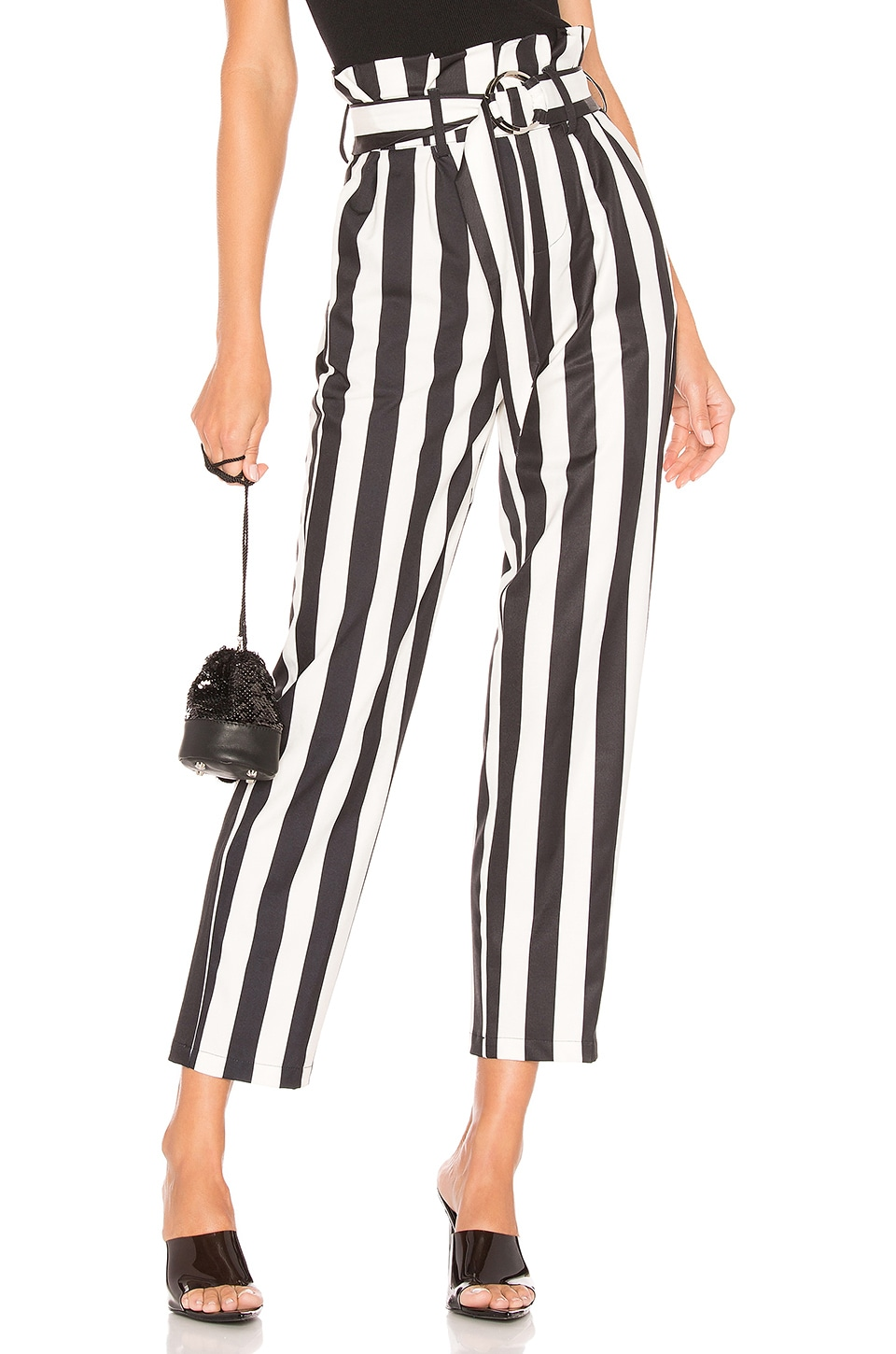 superdown Pippa Belted Striped Pants in Black & White