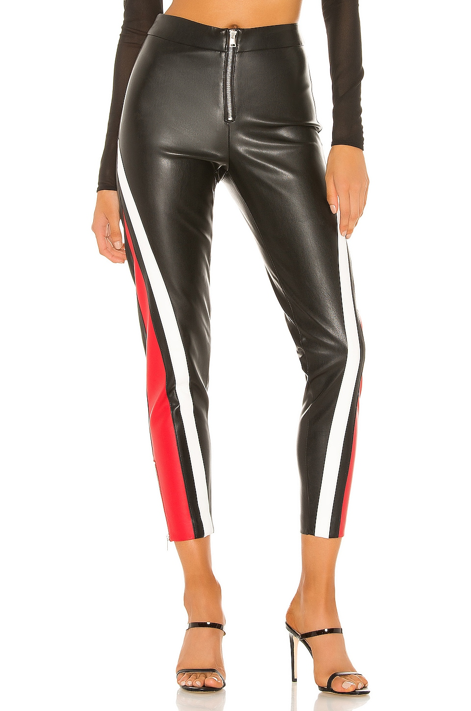 superdown Janica Faux Leather Pant in Black & Red