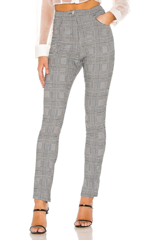superdown Maxyn High Waisted Pant in Grey Plaid