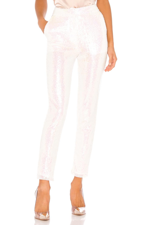 superdown Aviana Flat Front Trouser in White Sequin