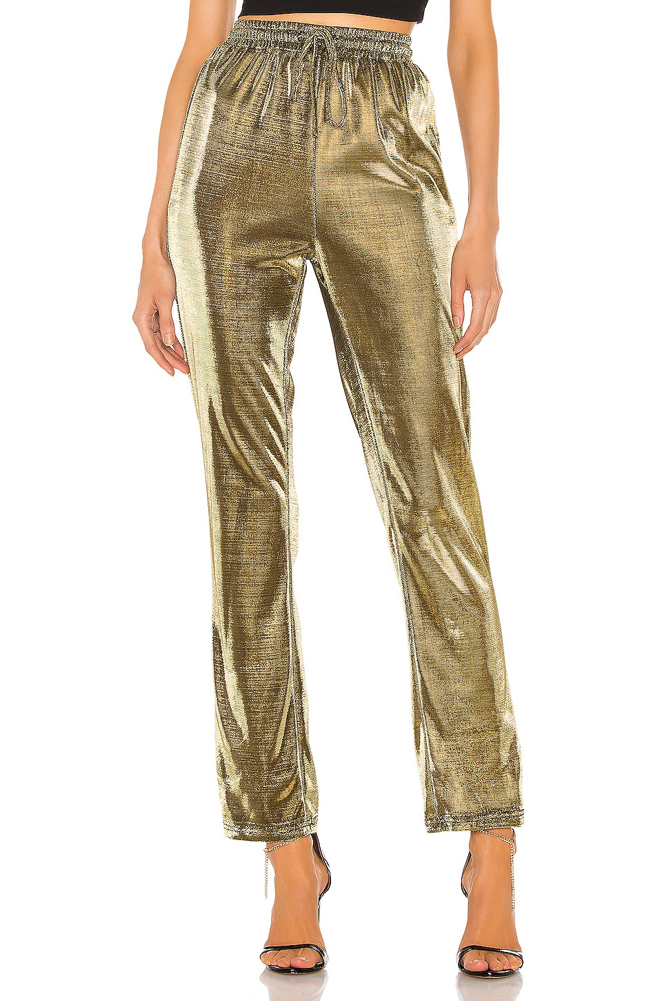 superdown Marlow Shimmer Pant in Gold