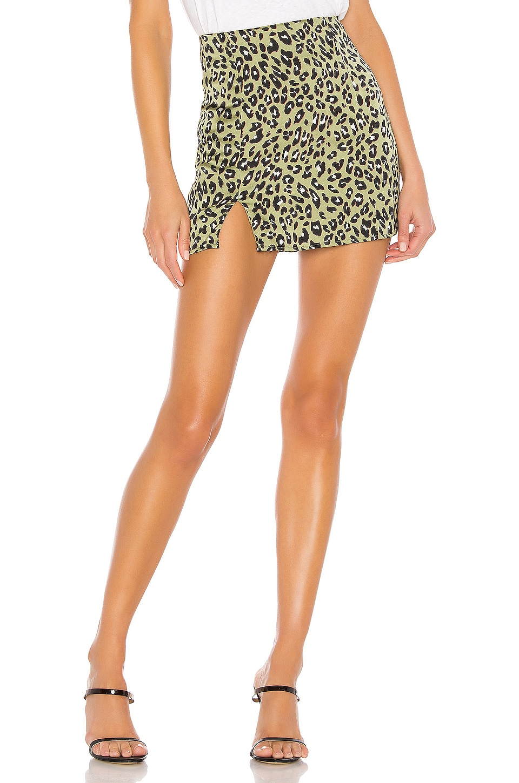superdown Betty Slit Mini Skirt in Green Leopard