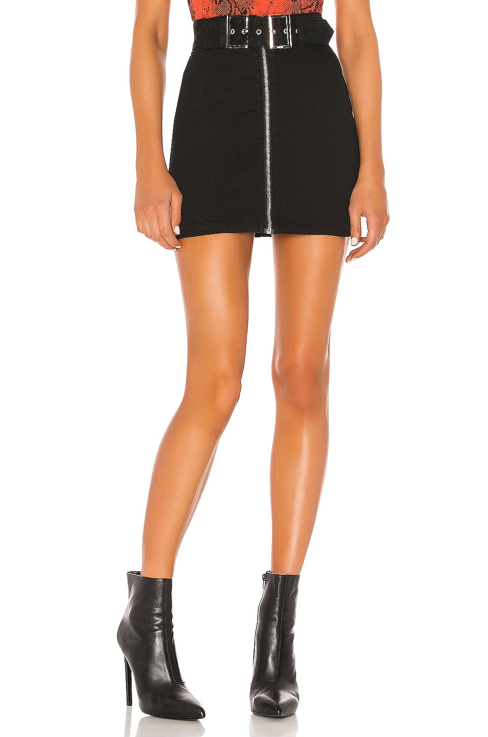 superdown Genevieve Mini Skirt in Black Denim