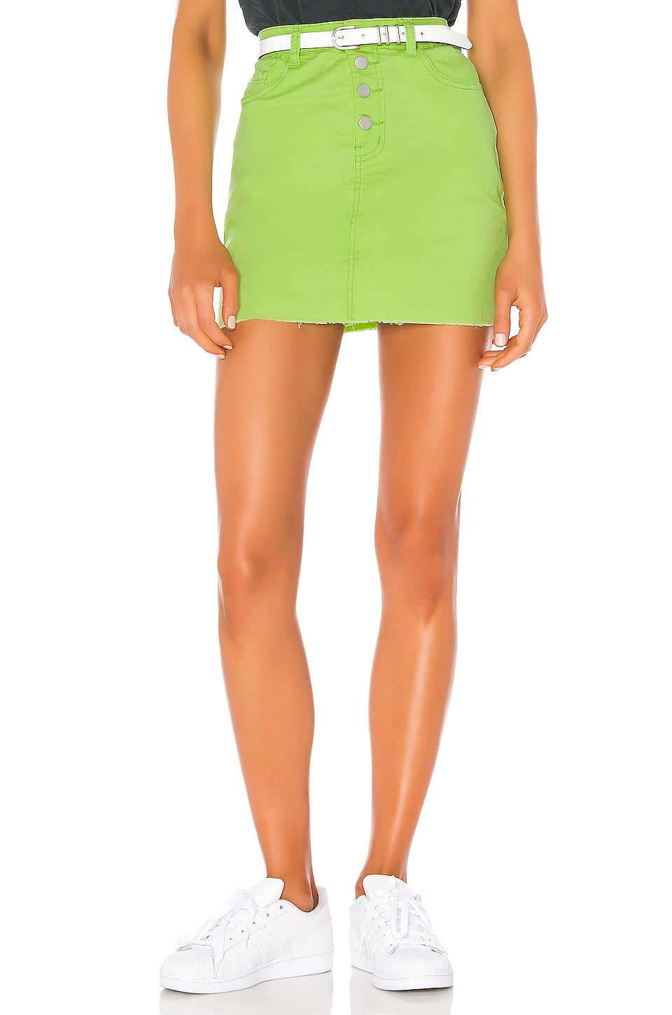 superdown Alix Distressed Denim Skirt in Neon Green