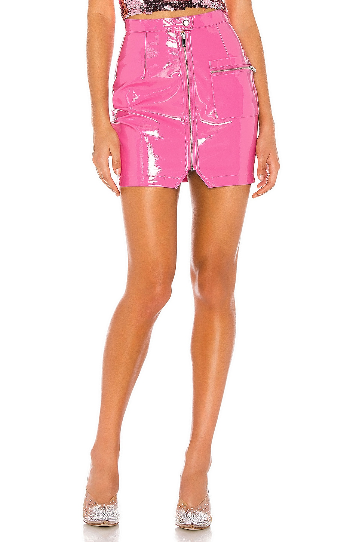 superdown Simone Zip Mini Skirt in Hot Pink