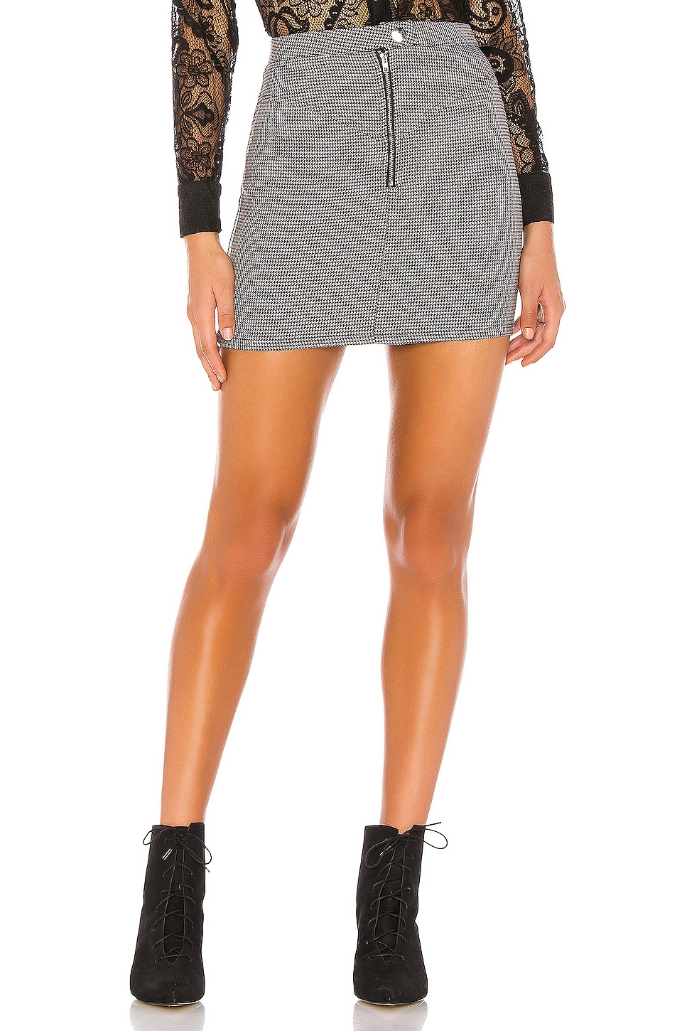 superdown Andy Zip Mini Skirt in Black Houndstooth