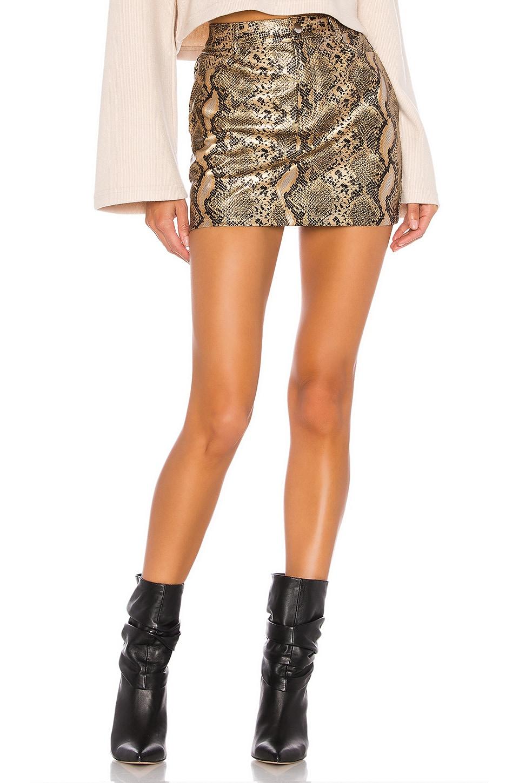 superdown Khloe Mini Skirt in Gold Snake