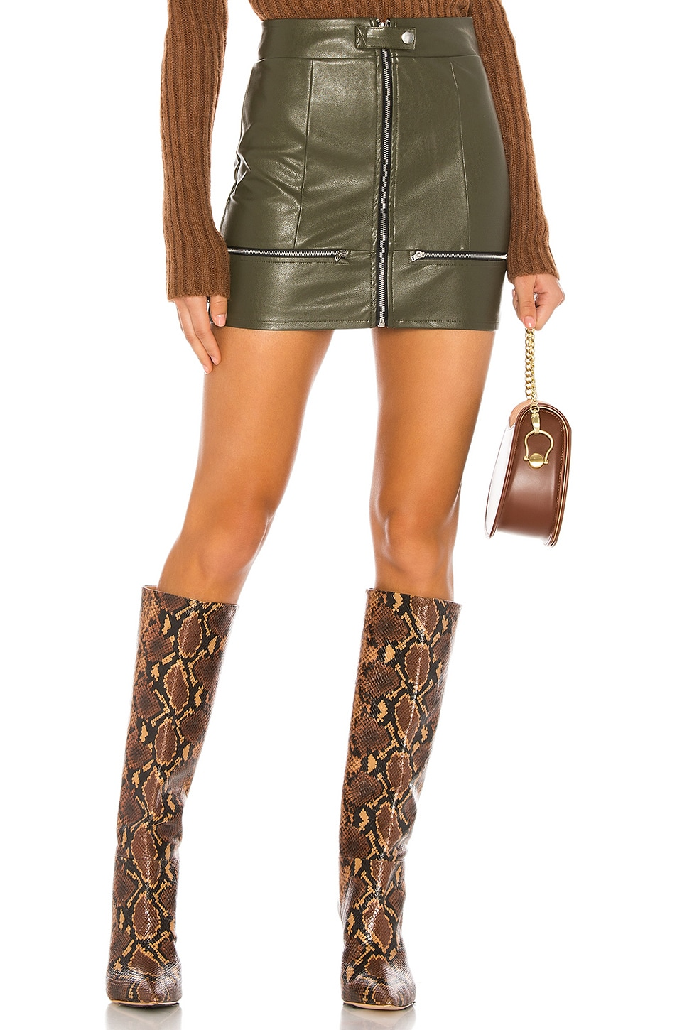 superdown Janice Moto Mini Skirt in Olive