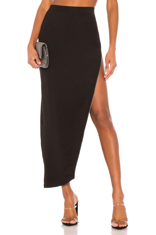 superdown Tawnie Zip Maxi Skirt in Black