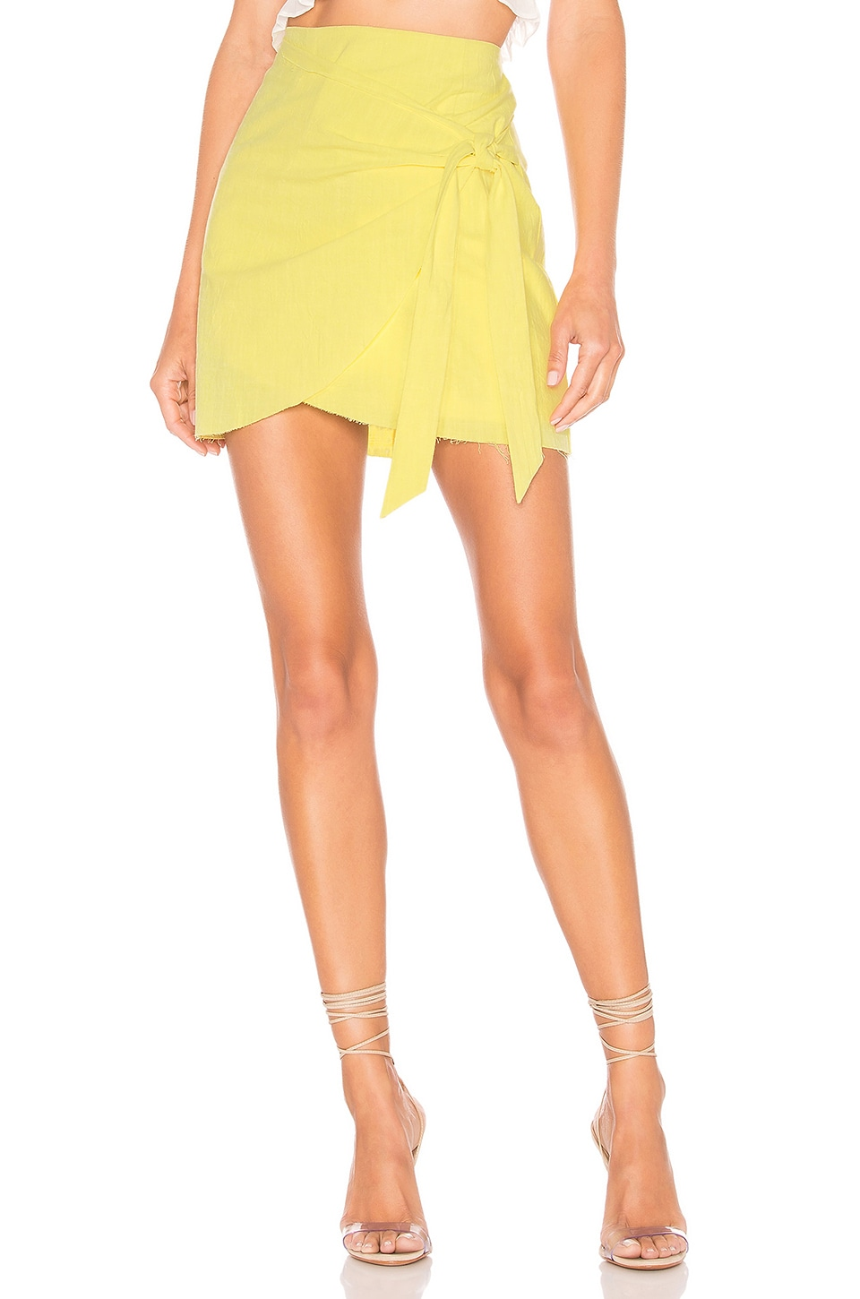 superdown Aaliyah Wrap Mini Skirt in Yellow