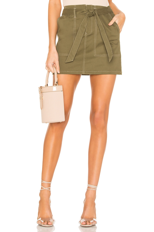 superdown Marina Contrast Stitch Skirt in Olive