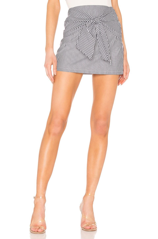 superdown Leti Tie Front Skirts in Blue Stripe