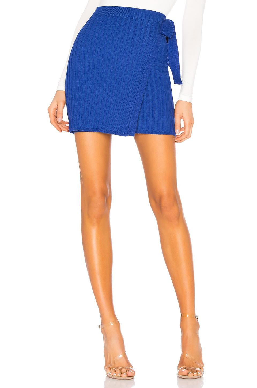 superdown Jodie Knit Wrap Skirt in Cobalt