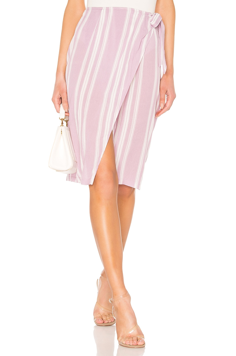 superdown Trisha Wrap Skirt in Lavender & White