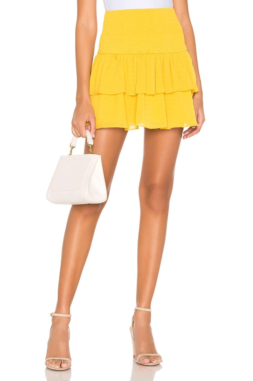 superdown Rae Smocked Mini Skirt in Yellow