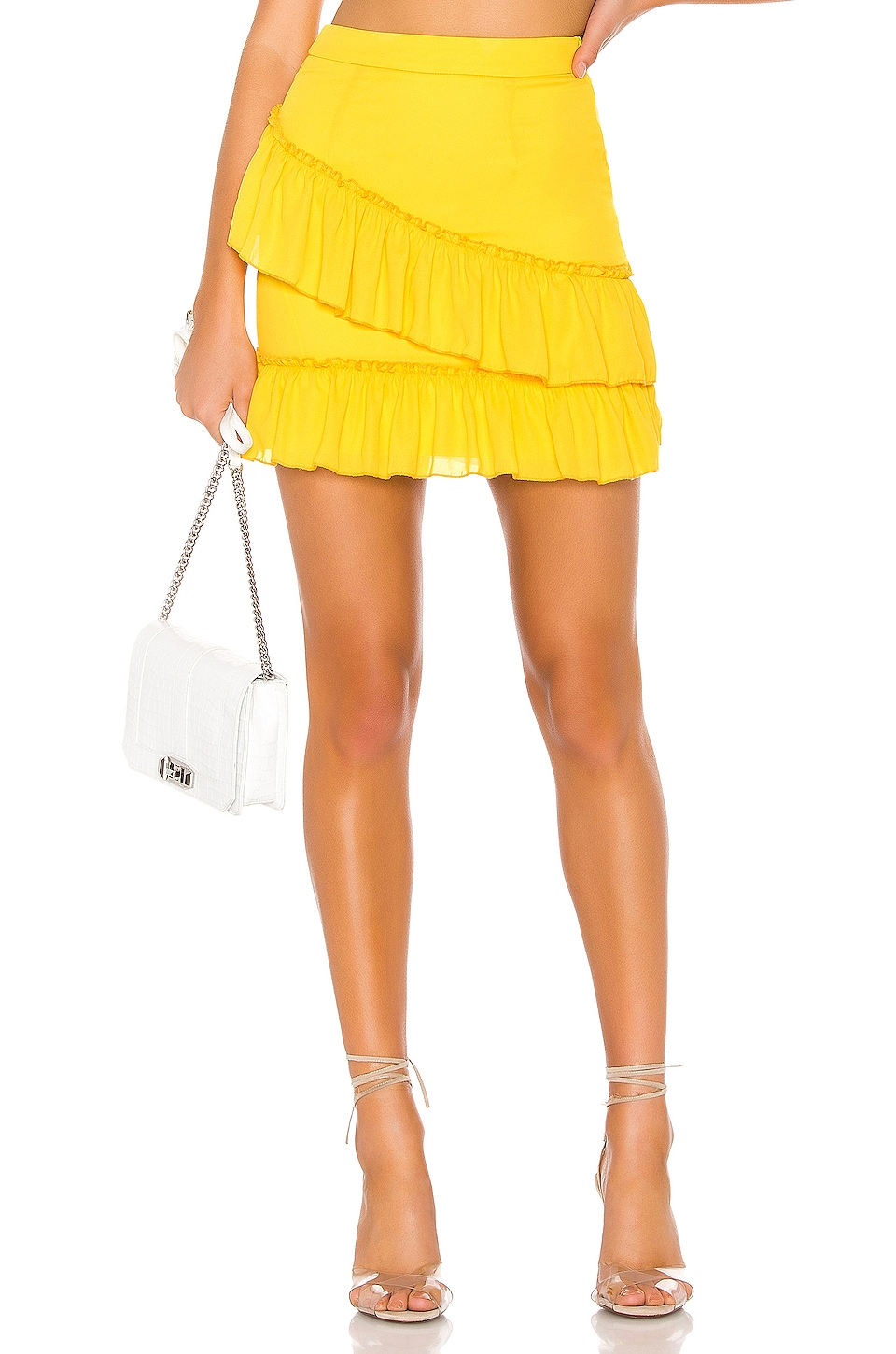 superdown Donnie Frill Mini Skirt in Yellow