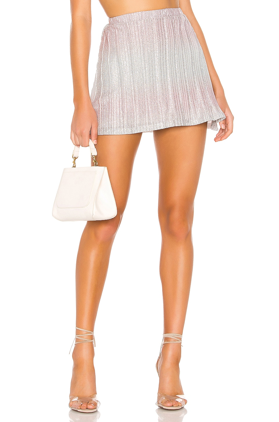 superdown Willow Pleated Mini Skirt in Pink & Silver